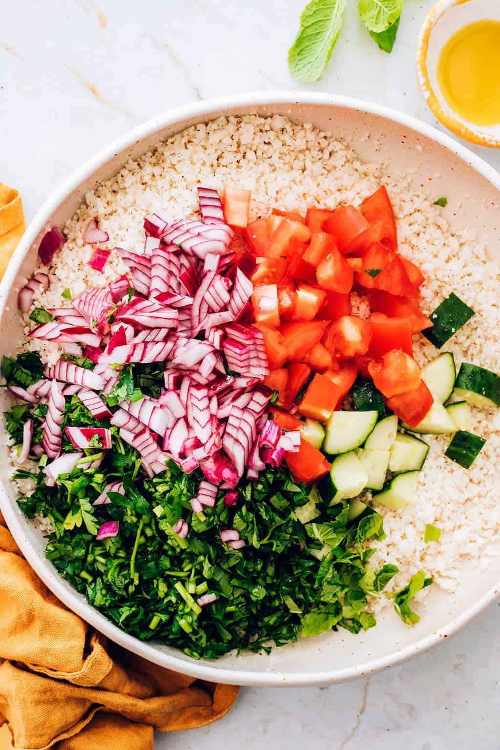 Cauliflower Rice Tabbouleh Salad Recipe