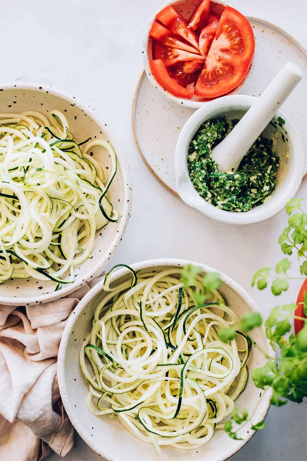 How to make zucchini noodles for Cilantro Pesto Pasta