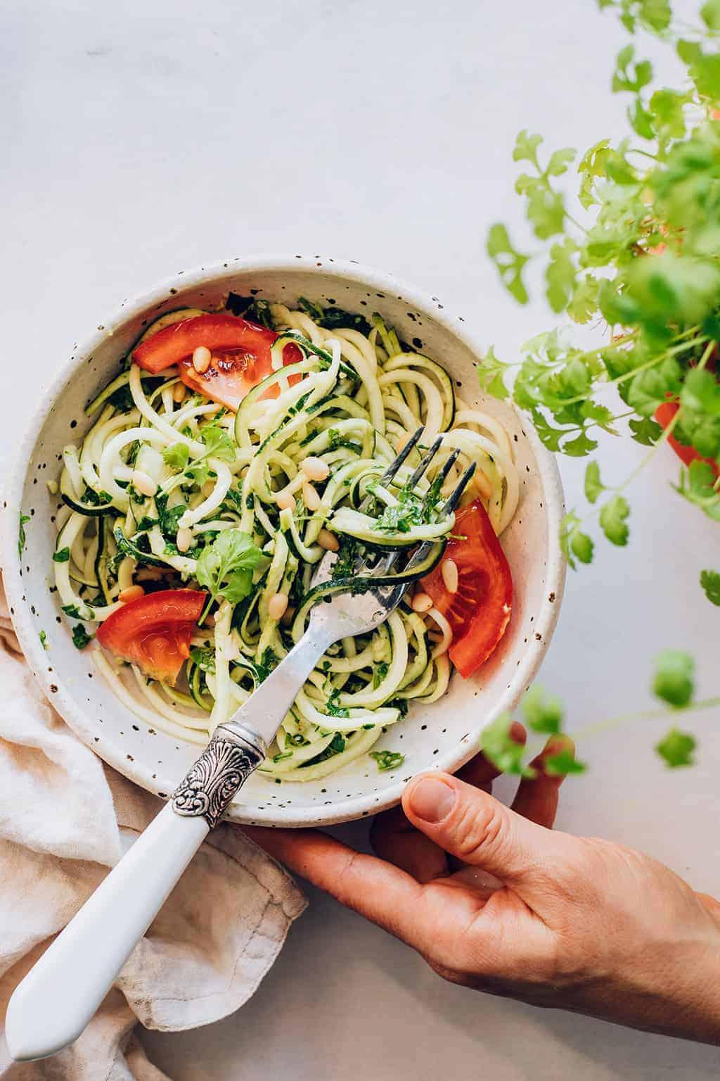 Zuchinni Noodles with Cilantro Pesto Recipe