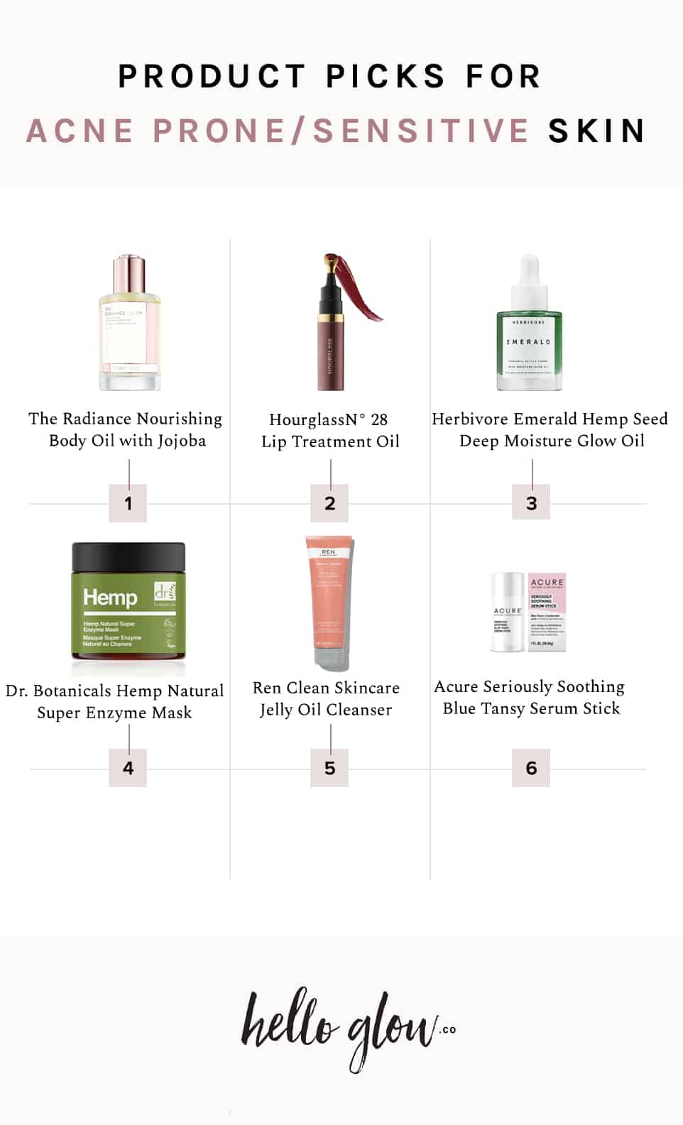 Product picks for acne-prone or sensitive skin - Hello Glow