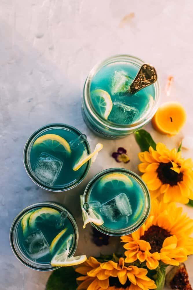 Ginger Lemonade with Blue Spirulina and CBD