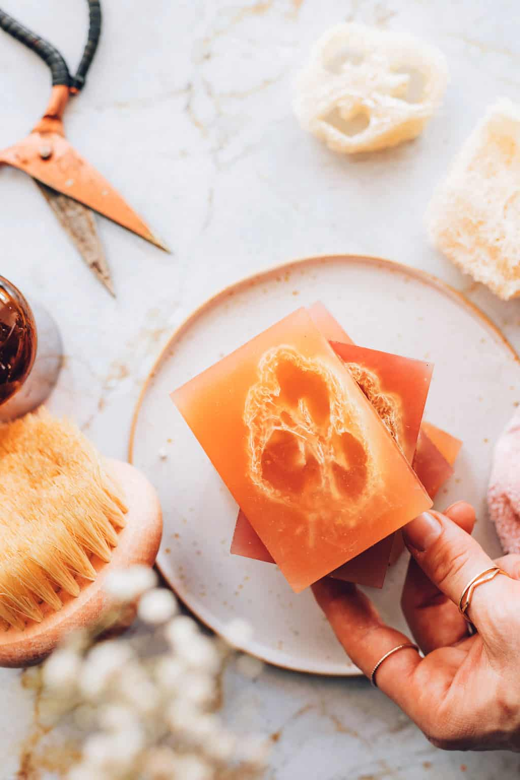 DIY Loofah Soap with melt and pour soap base