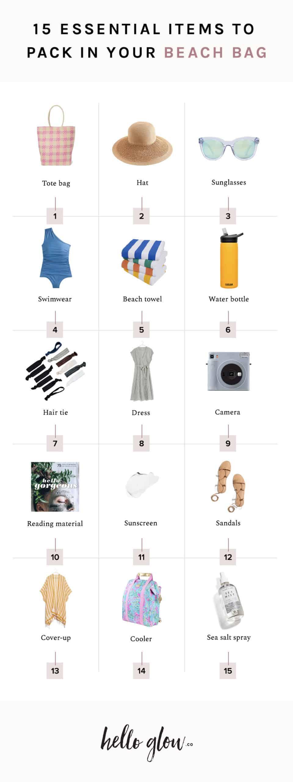 15 beach bag essentials - Hello Glow