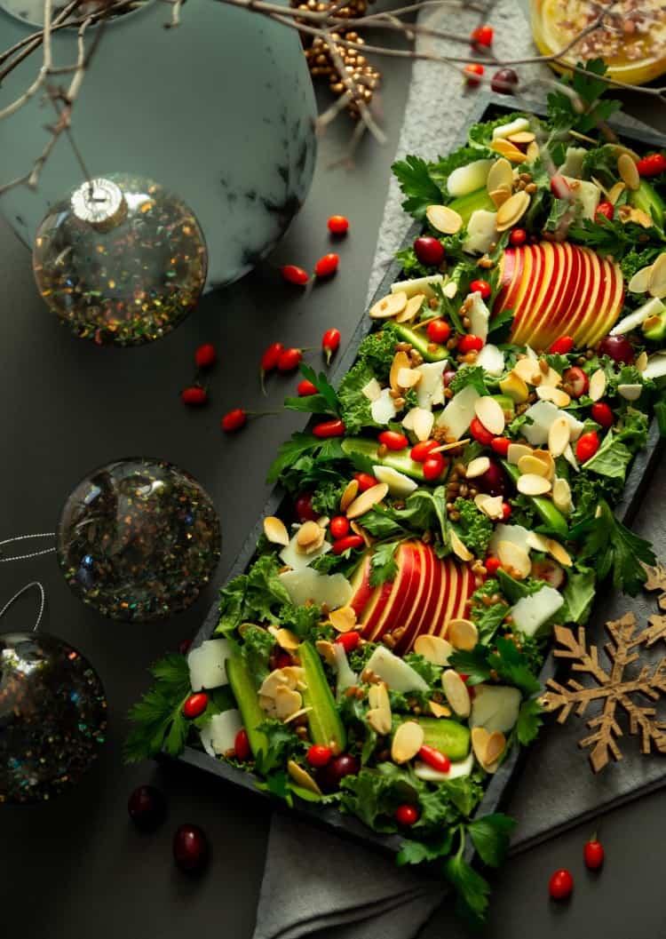 Festive Kale & Goji Salad with Lemon Dressing