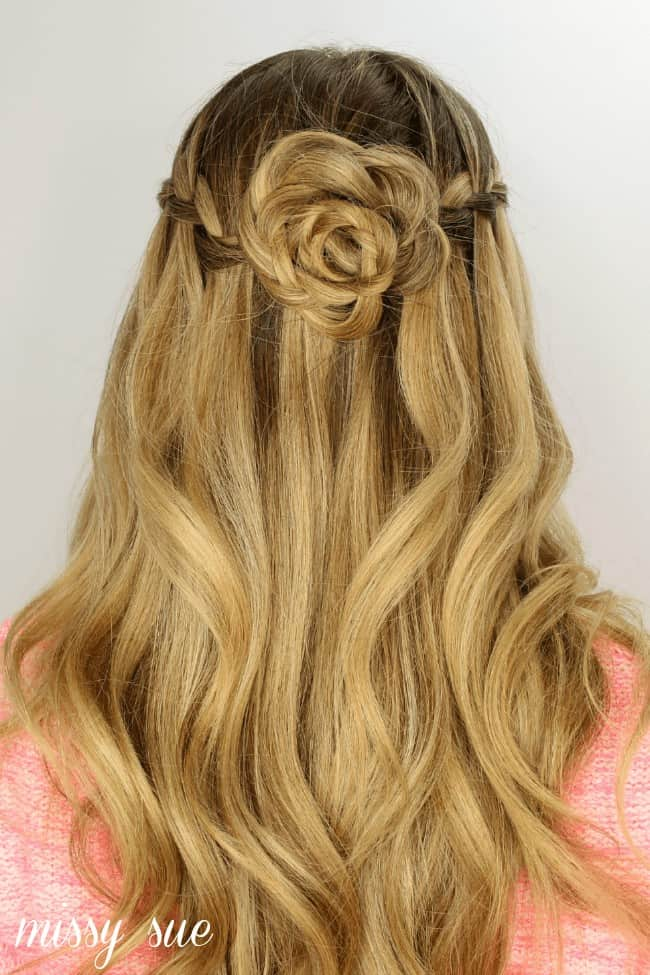 Waterfall Braid and Flower Bun from Missy Sue