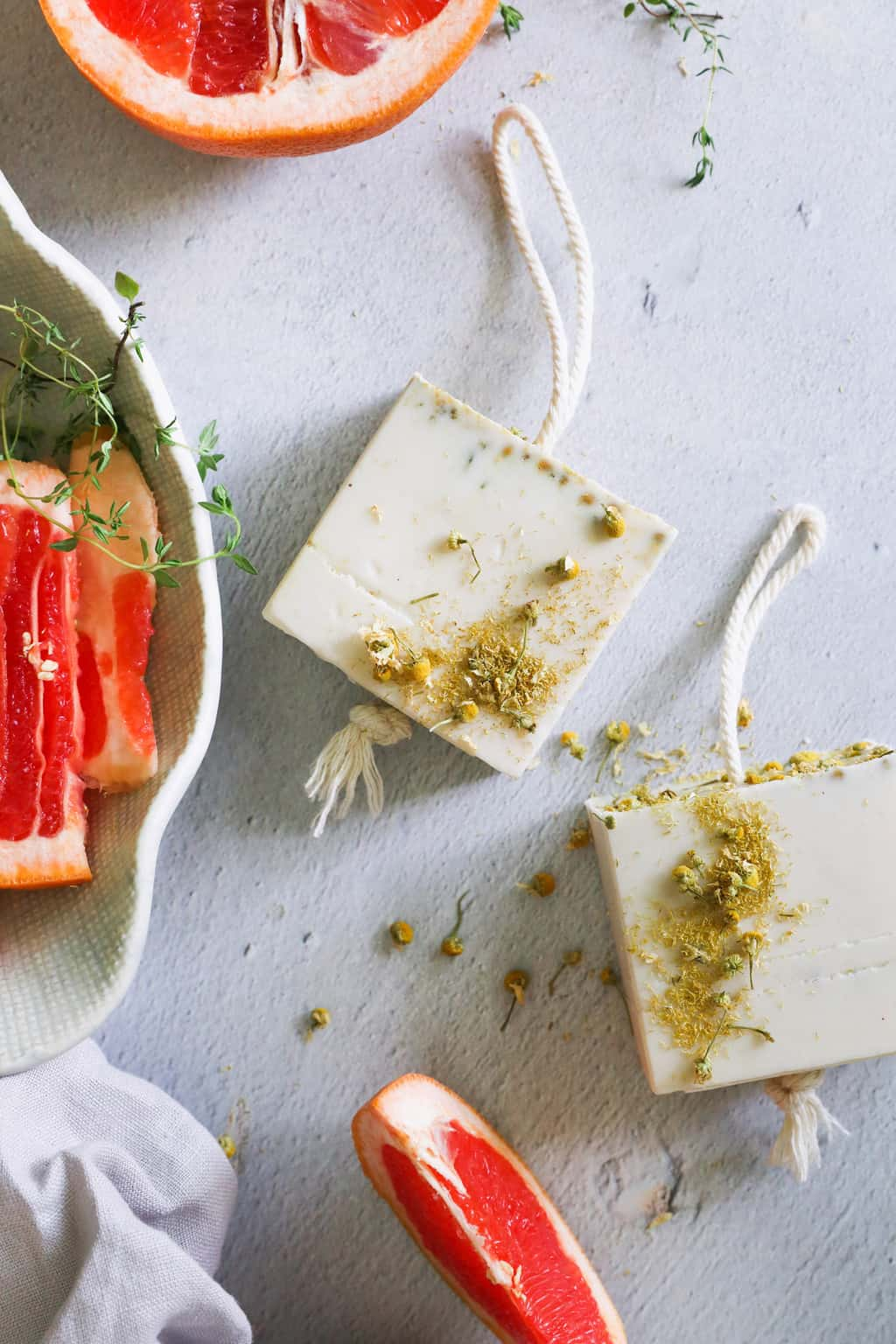 We'll show you how to make soap on a rope and share our recipe for nourishing thyme-grapefruit goat's milk soap. It makes a great gift!